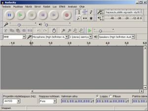 Kuva 1 Audacityn ikkuna käynnistyksen jälkeen. Äänitys, pysäytys, toisto yms. nappulat löytyvät ylälaidasta.